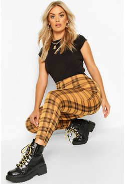 Mustard Plus Check Jersey Leggings