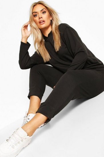 Black Plus Hoody & Jogger Set