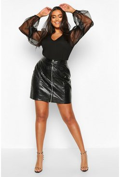Black Plus Organza Mesh Puff Sleeve Fitted Top
