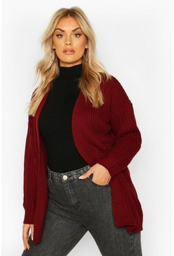 Wine red Plus Oversized Boyfriend Cardigan