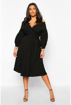 Wine Plus Off The Shoulder Wrap Midi Dress