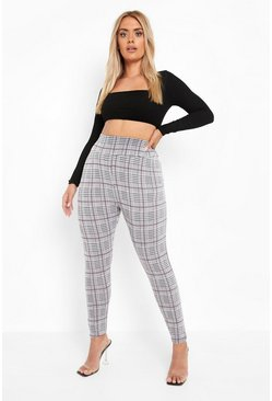 Grey PLus Checked Knitted High Waist Legging
