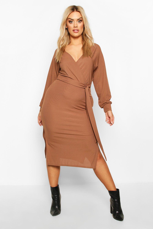 Plus Puff Sleeve Textured Slinky Mini Dress 7
