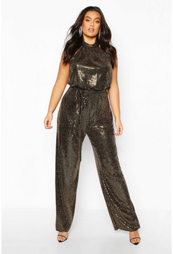 Gold metallic Plus Metallic Sequin Wide Leg Belted Jumpsuit
