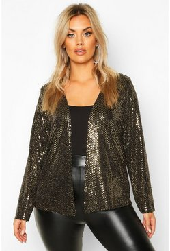 Gold metallic Plus Sequin Metallic Collarless Jacket