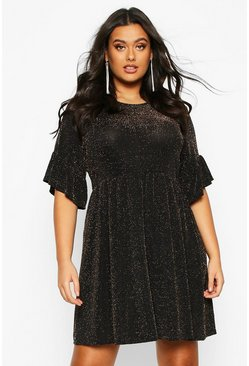 Gold metallic Plus Glitter Shimmer Smock Dress