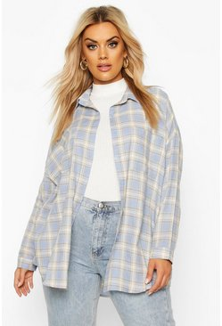 Blue Plus Check Oversized Boyfriend Shirt