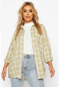 Sage green Plus Check Oversized Boyfriend Shirt