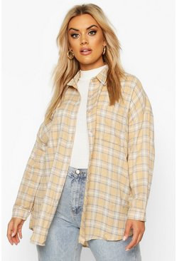 Stone beige Plus Flannel Oversized Boyfriend Shirt