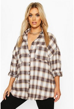Navy Plus Brushed Check Oversized Boyfriend Shirt
