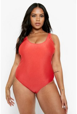 Red Plus Scoop Swimsuit