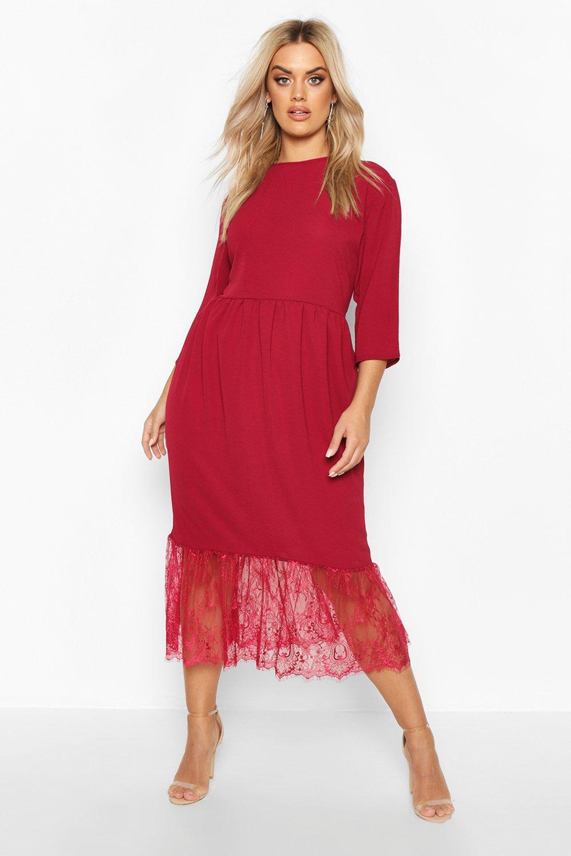 Plus Lace Hem Ruffle Midi Dress 6