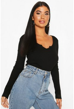 Black Petite Cropped Notch Neck Fine Knit Rib Top