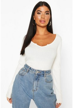 Cream white Petite Cropped Notch Neck Fine Knit Rib Top