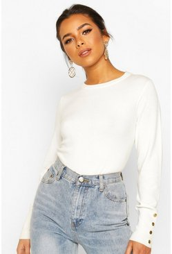 Cream Petite Button Detail Fine Knit Crew Neck Jumper