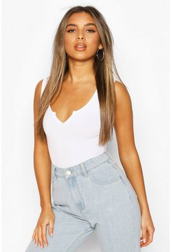 White Petite Sleeveless Notch Neck Bodysuit