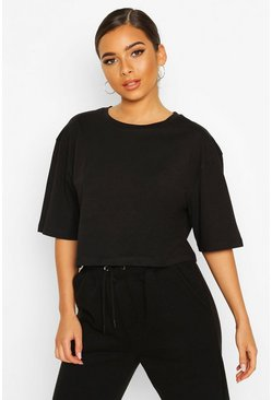 Petite Cropped Cotton T-Shirt, Black negro