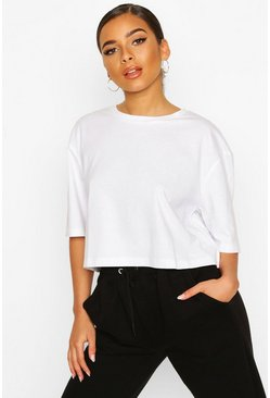 White Petite Cropped Cotton T-Shirt
