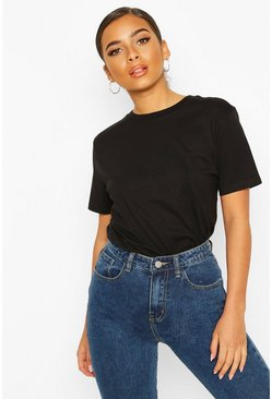 Petite Round Neck Cotton T-Shirt, Black negro