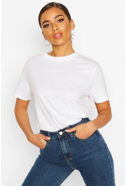 Petite Round Neck Cotton T-Shirt, White blanco