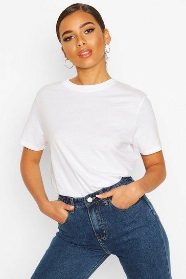 White Petite Round Neck Cotton T-Shirt