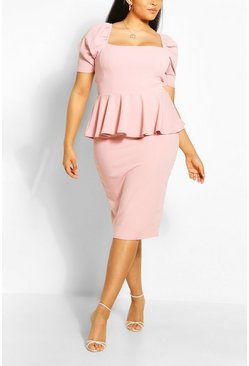 Blush Plus Peplum Puff Sleeve Midi Dress