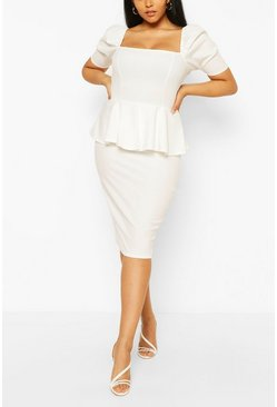 Ivory white Plus Peplum Puff Sleeve Midi Dress