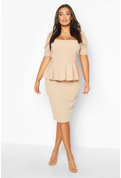 Wine Plus Peplum Puff Sleeve Midi Dress