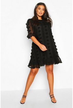 Plus Dobby Mesh Ruffle Smock Dress, Black