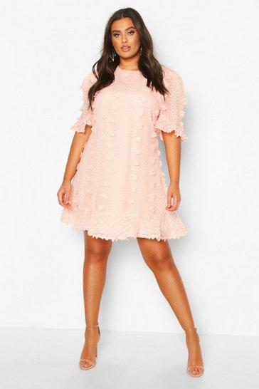 Blush pink Plus Dobby Mesh Ruffle Smock Dress
