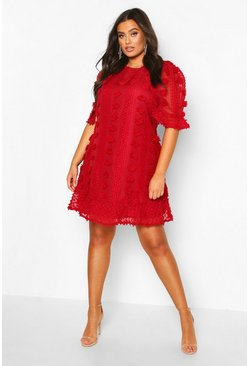 Wine red Plus Dobby Mesh Ruffle Smock Dress