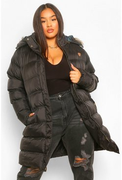Black Plus Longline Padded Hooded Jacket