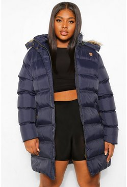 Navy Plus Longline Padded Hooded Jacket