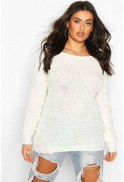 Cream Plus Slash Neck Fisherman Jumper