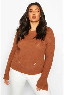 Biscuit beige Plus Cuff Detail Fisherman Knit Sweater
