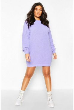 Lila purple Plus Trui Jurk Met Crewneck