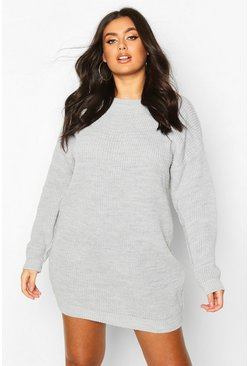 Silver Plus Crew Neck Jumper Dress