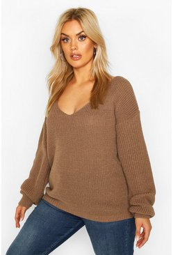 Mocha beige Plus Oversized V-Neck Jumper