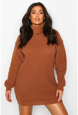 Biscuit beige Plus Roll Neck Jumper Dress