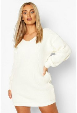 Cream white Plus V-Neck Jumper Mini Dress