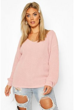 Blush pink Plus Oversized V-Neck Jumper