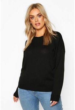 Black Plus Boxy Crew Neck Sweater