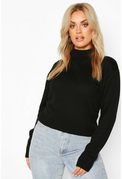 Black Plus Roll Neck Crop Jumper