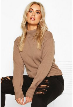 Mocha beige Plus Roll Neck Crop Jumper