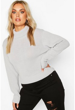 Silver Plus Roll Neck Crop Sweater