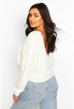 Cream white Plus V-Back Crop Sweater