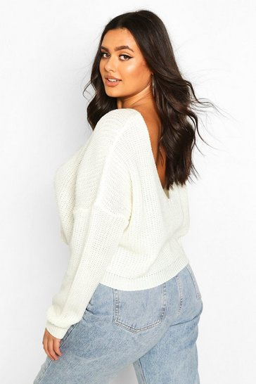 Cream white Plus V-Back Crop Jumper