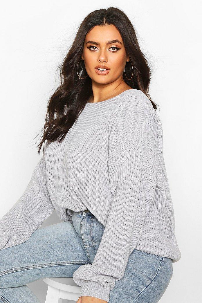 Plus V Back Oversized Sweater | boohoo