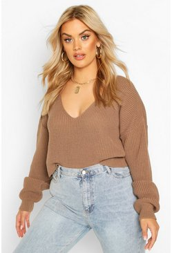 Mocha beige Plus V-Neck Fisherman Crop Jumper