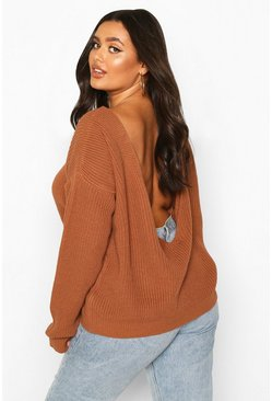 Biscuit beige Plus V-Back Oversized Jumper